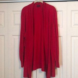 Worthington Red Open Front Cardigan Plus Size